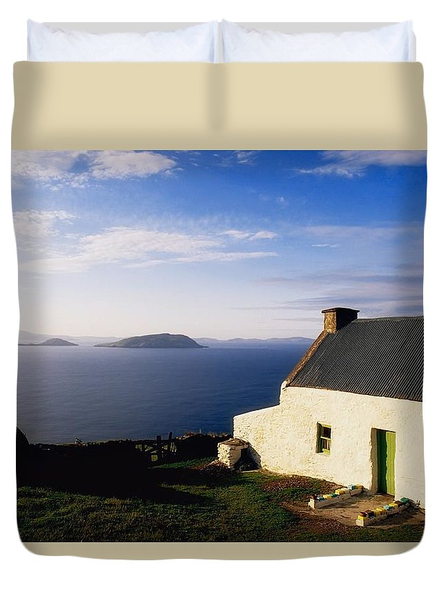 Architecture Duvet Cover featuring the photograph Co Kerry, Near Ballinskelligs, With by The Irish Image Collection