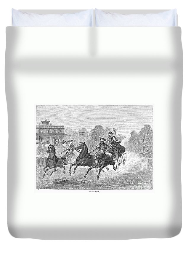 1860 Duvet Cover featuring the photograph Coaching, 1860 by Granger
