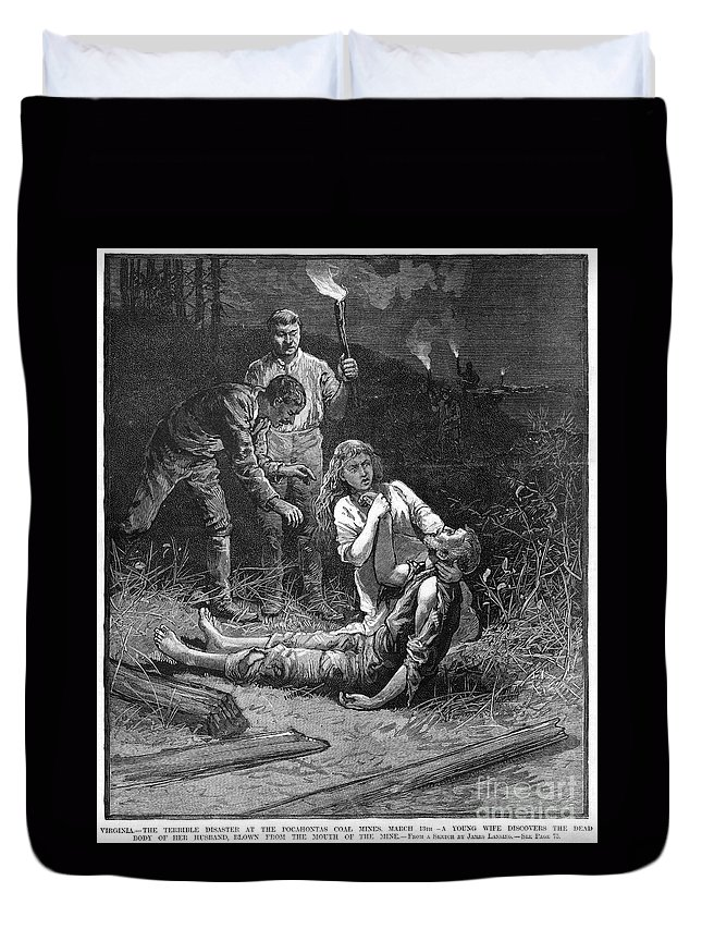 1884 Duvet Cover featuring the photograph Coal Mine Disaster, 1884 by Granger