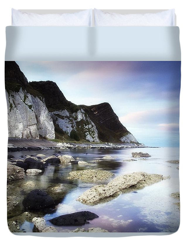 Atmosphere Duvet Cover featuring the photograph Coast Between Carnlough & Waterfoot, Co by The Irish Image Collection