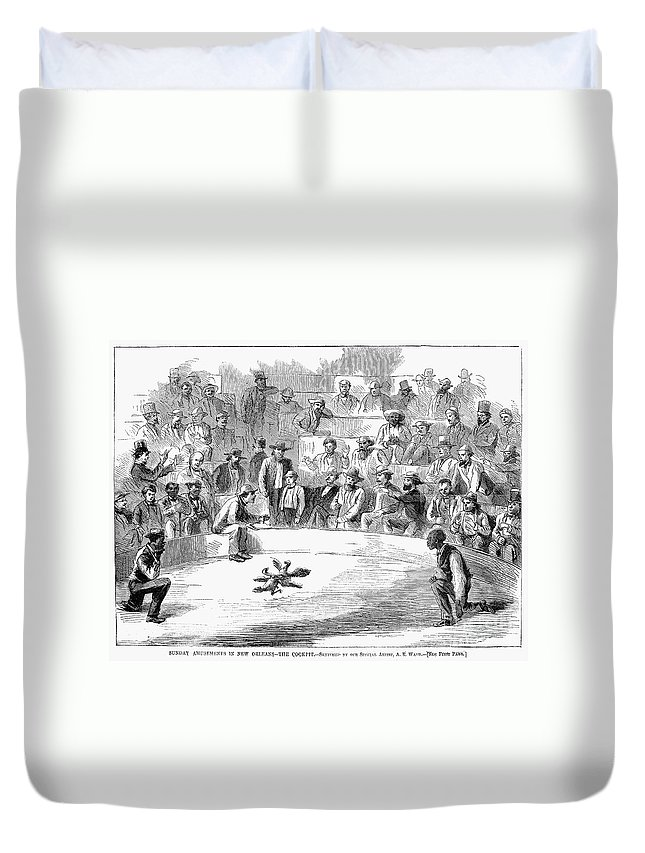 1866 Duvet Cover featuring the photograph Cock Fighting, 1866 by Granger
