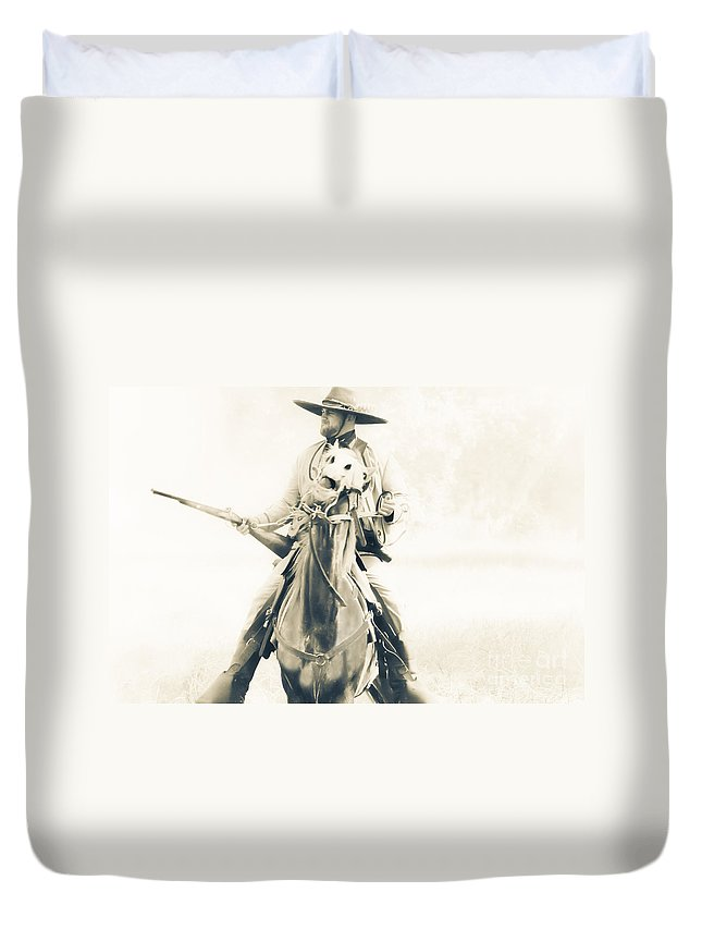 Reenactment Duvet Cover featuring the mixed media Cocked And Ready by Kim Henderson