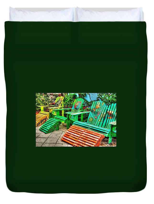 Chair Duvet Cover featuring the photograph Cocktails Anyone by Debbi Granruth