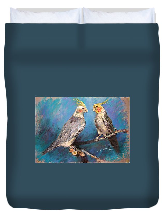 Coctaiel Duvet Cover featuring the pastel Coctaiel Parrots by Ylli Haruni