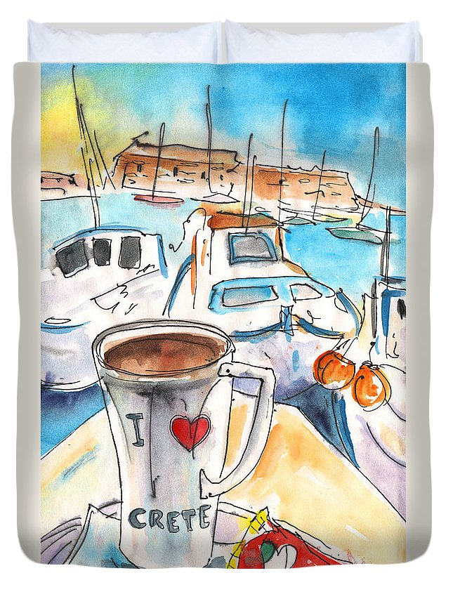 Travel Art Duvet Cover featuring the painting Coffee Break In Heraklion In Crete by Miki De Goodaboom