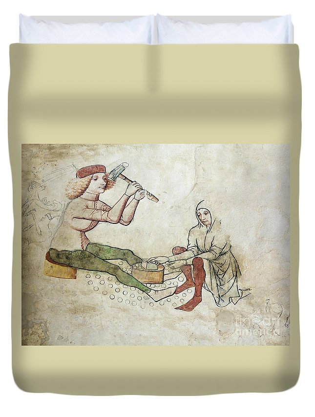 Coinage Duvet Cover featuring the photograph coinage - Gothic mural by Michal Boubin