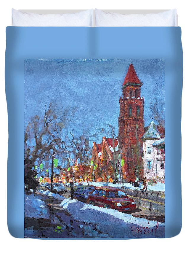 Elmwood Ave Duvet Cover featuring the painting Cold Morning In Elmwood Ave by Ylli Haruni
