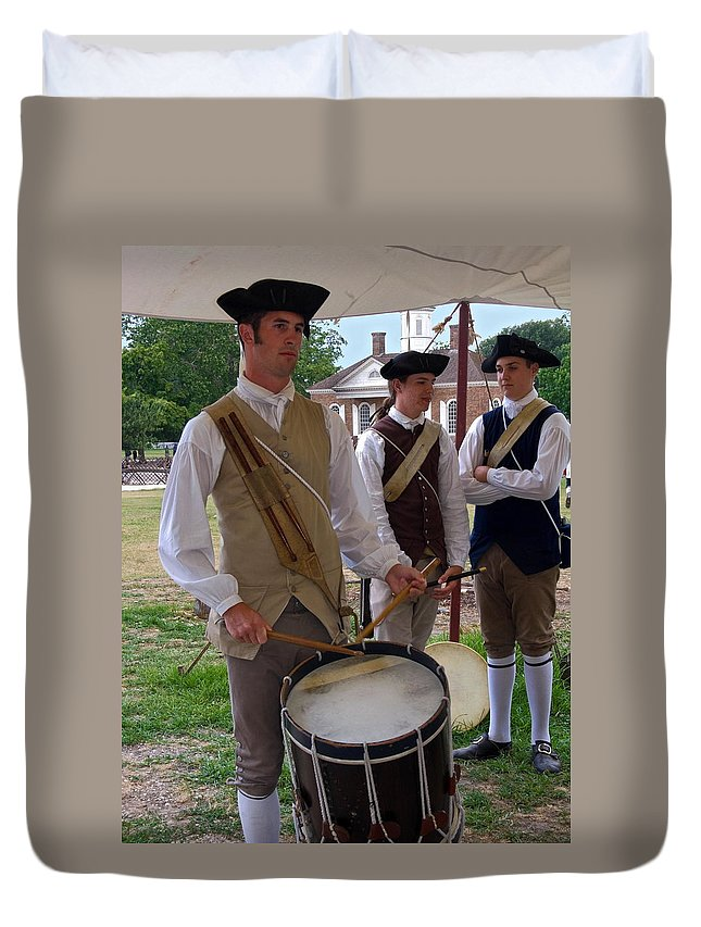 Young Man Playing Drum Duvet Cover featuring the photograph Colonial Drummer by Sally Weigand