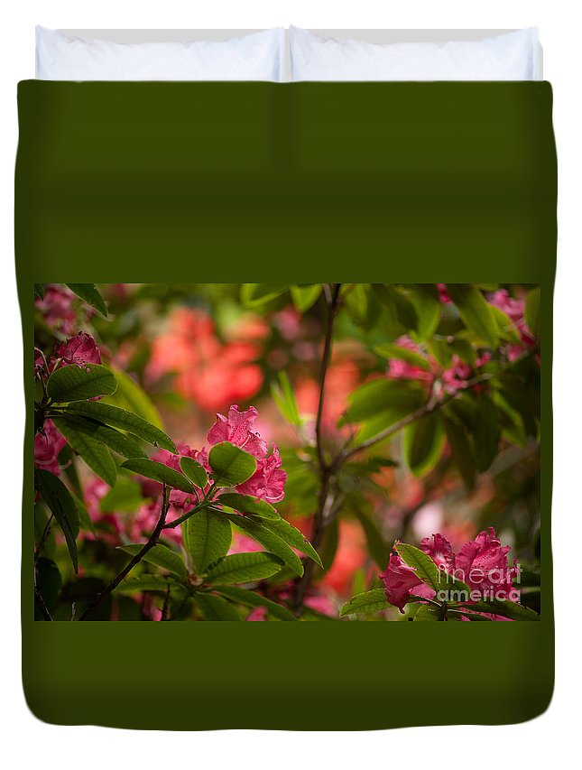 Rhodies Duvet Cover featuring the photograph Color In The Jungle by Mike Reid