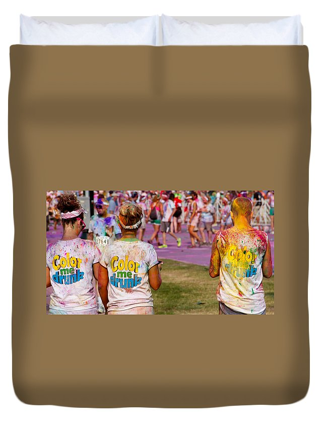 Color Run Me Drunk Runners Participants Philadelphia Event Colorful Duvet Cover featuring the photograph Color Me Drunk by Alice Gipson