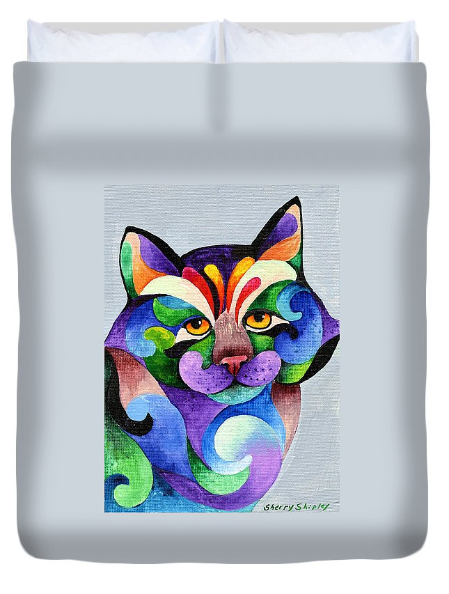 Cat Duvet Cover featuring the painting Color Me Smug by Sherry Shipley