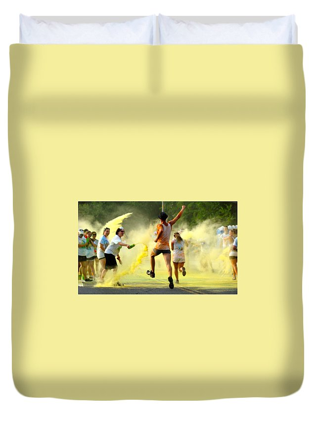Color Run Philadelphia 2012 Runners Celebration Happy Yellow Duvet Cover featuring the photograph Color Run Happy by Alice Gipson
