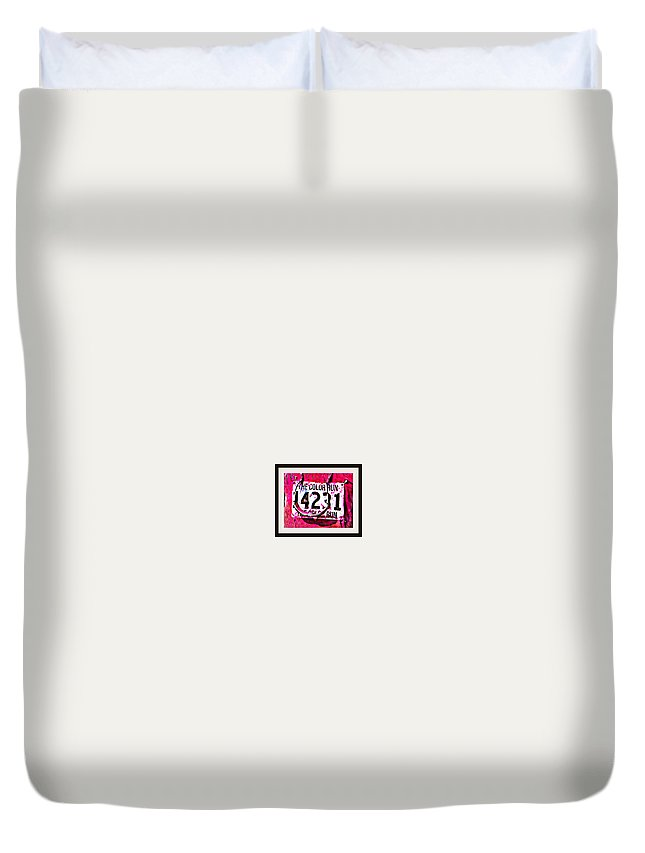 Color Run Nametag Number Philadelphia Duvet Cover featuring the photograph Color Run Number by Alice Gipson