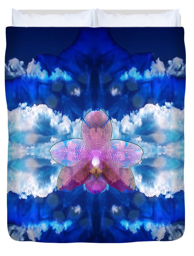 Digital Duvet Cover featuring the digital art Color Sky Orchid by Gaela Cohen