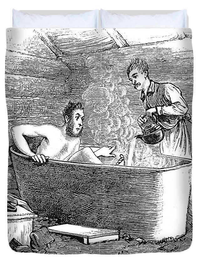 1879 Duvet Cover featuring the photograph Colorado Bathhouse, 1879 by Granger