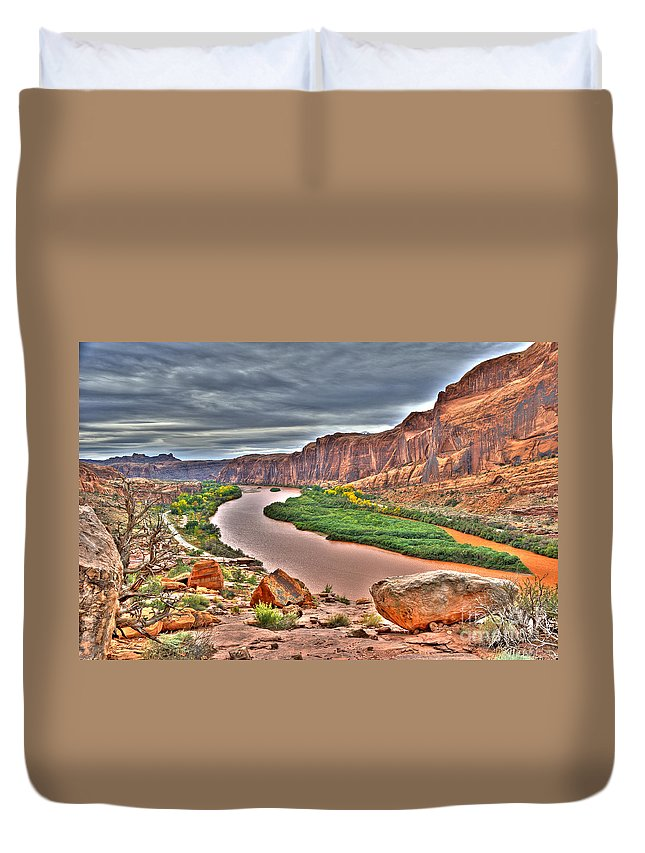 Hdr Duvet Cover featuring the photograph Colorado River Flows Through A Stormy Moab Portal by Gary Whitton
