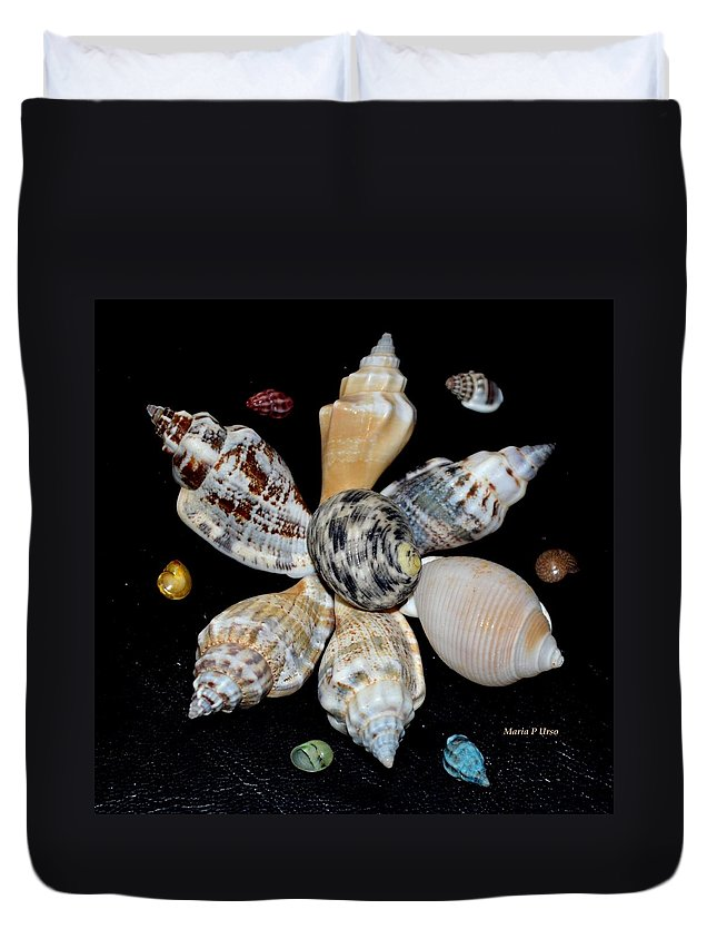 Colored Duvet Cover featuring the photograph Colored Seashells by Maria Urso