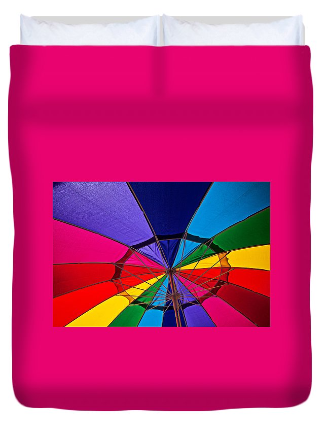 Colorful Umbrella Parasol Shade Colors Duvet Cover featuring the photograph Colorful Umbrella by Garry Gay