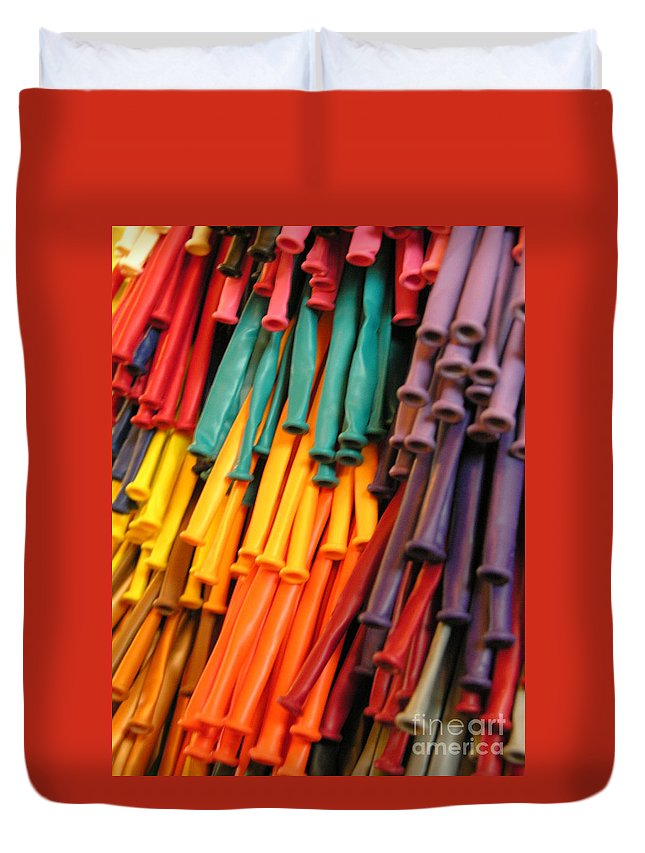 Rubber Bands Hanging Duvet Cover featuring the photograph Colors For All Ages by Diane Greco-Lesser
