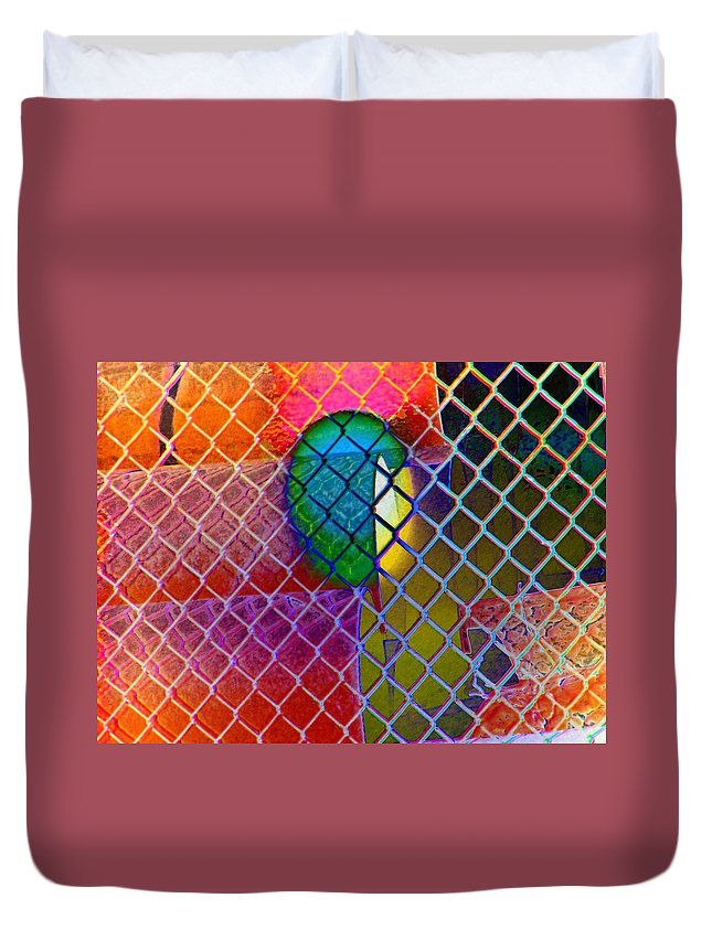 Abstract Duvet Cover featuring the photograph Colors Hiding Behind Fence by Lenore Senior