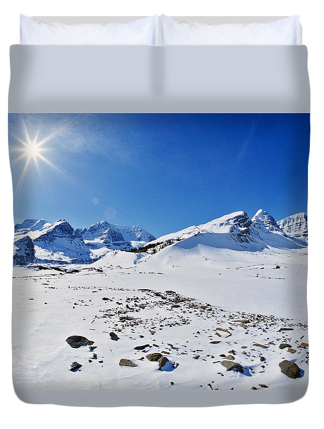 Light Duvet Cover featuring the photograph Columbia Icefield In Winter, Jasper by Darwin Wiggett