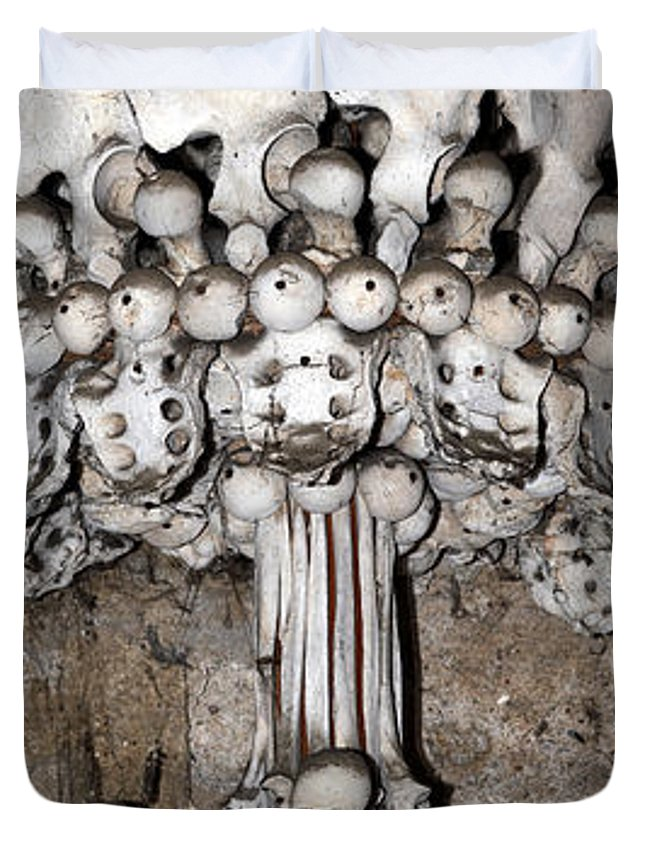 Ossuary Duvet Cover featuring the photograph Column From Human Bones And Sku by Michal Boubin