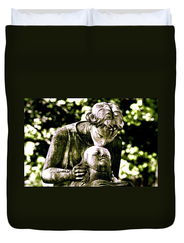 Statue Duvet Cover featuring the photograph Comforted by Valerie Rosen