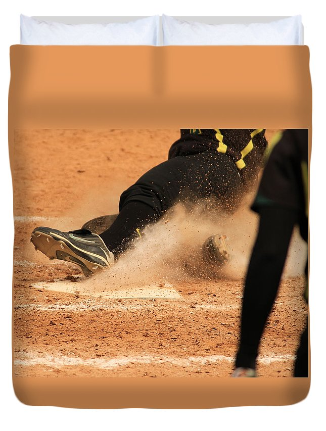Softball Duvet Cover featuring the photograph Coming Home With A Slide by Laddie Halupa