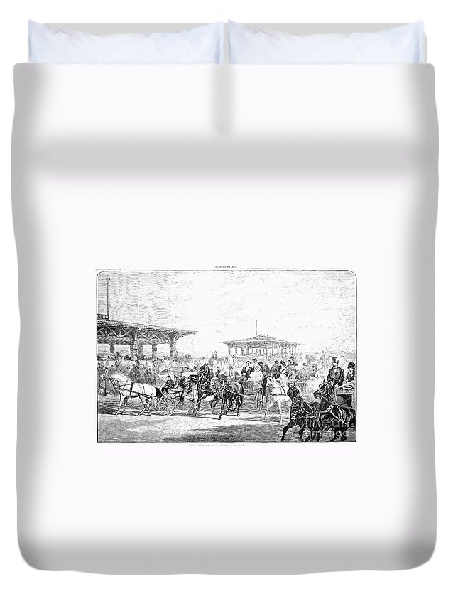 1877 Duvet Cover featuring the photograph Coney Island, 1877 by Granger