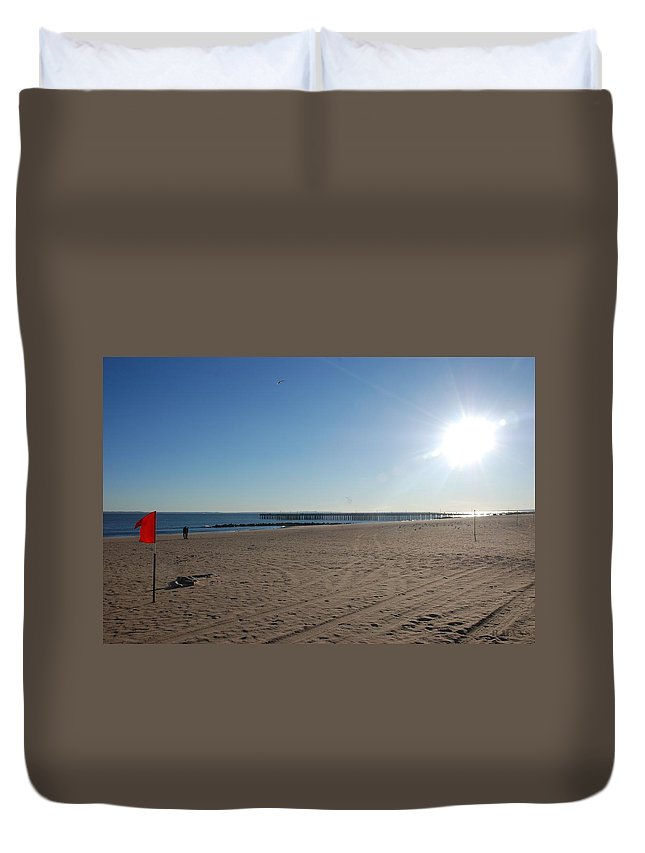Brooklyn Duvet Cover featuring the photograph Coney Island Beach by Rob Hans