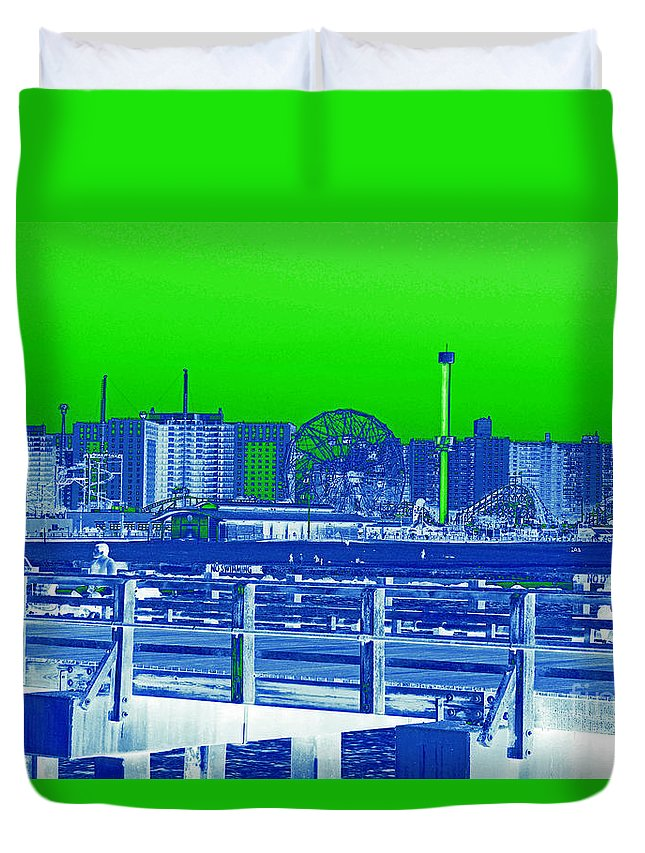 Coney Island Duvet Cover featuring the photograph Coney Island Madness by Kendall Eutemey