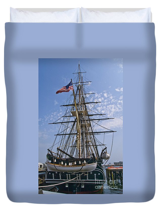 Uss Constitution Duvet Cover featuring the photograph Constitution Stern by Tim Mulina