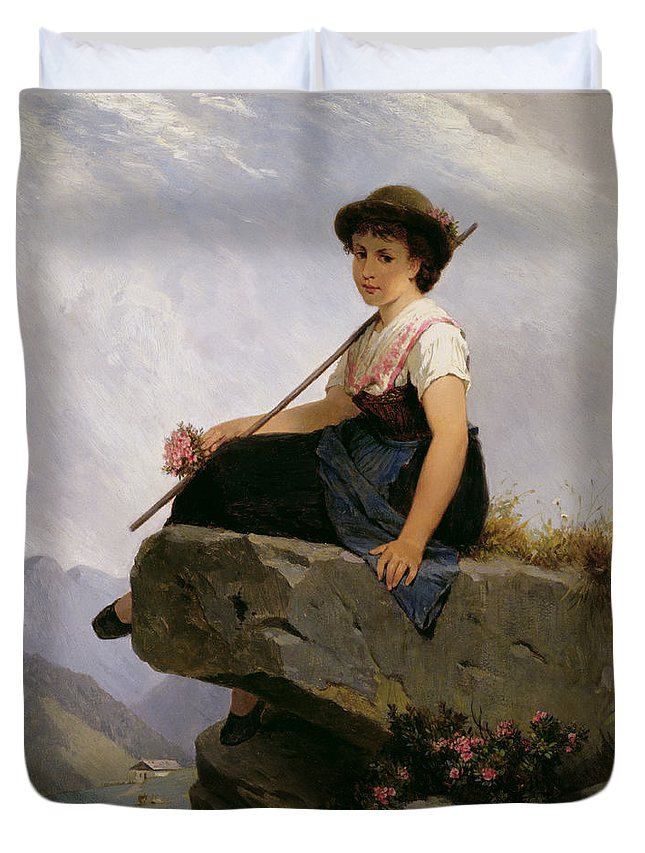 Alpine Landscape; Female; Posy; Resting; Pinafore; Chalet; Heidi; Girl; Alps; Thinking Duvet Cover featuring the painting Contemplation by Robert Julius Beyschlag
