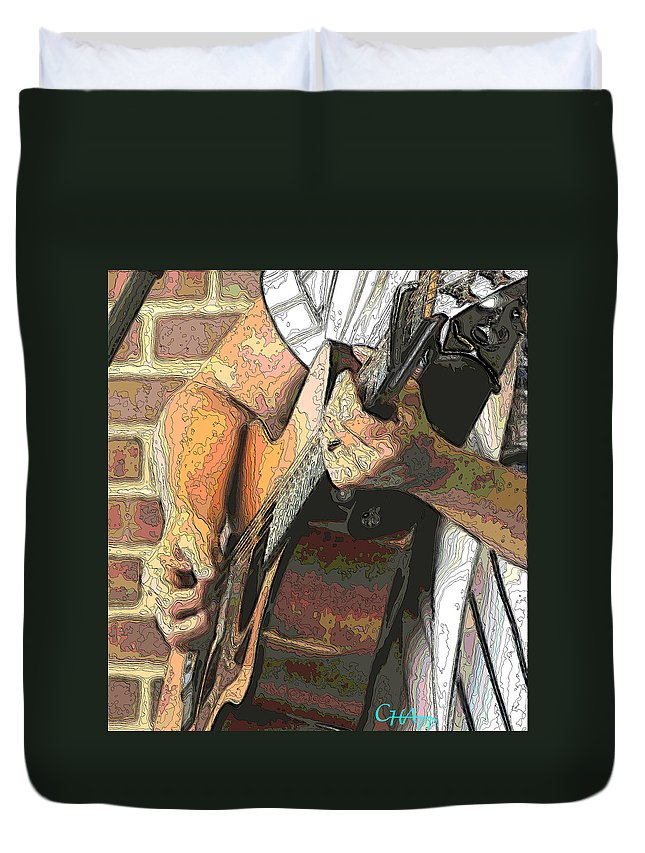 Guitar Duvet Cover featuring the photograph Contorno Guitarist 2 by C H Apperson