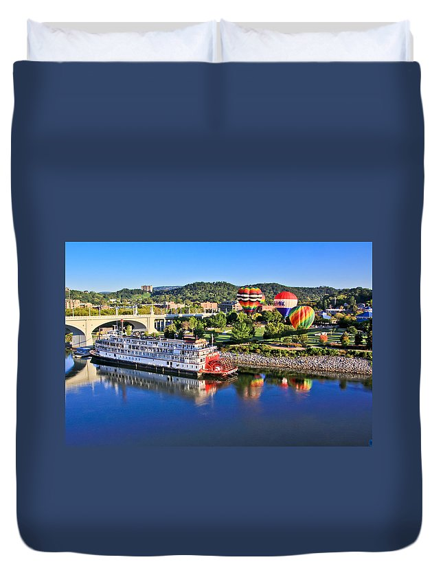 Coolidge Park Duvet Cover featuring the photograph Coolidge Park During River Rocks by Tom and Pat Cory