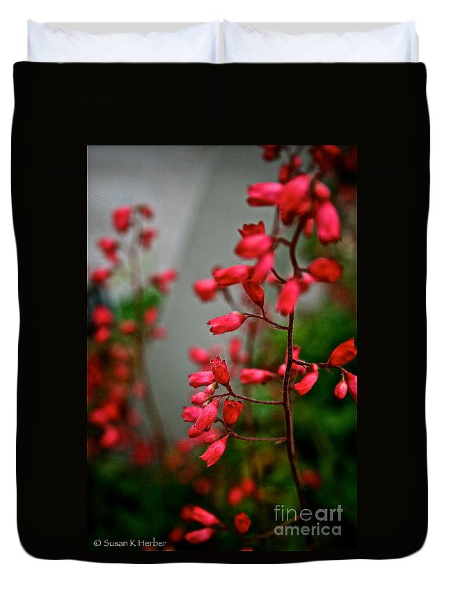 Plant Duvet Cover featuring the photograph Coral Bells by Susan Herber