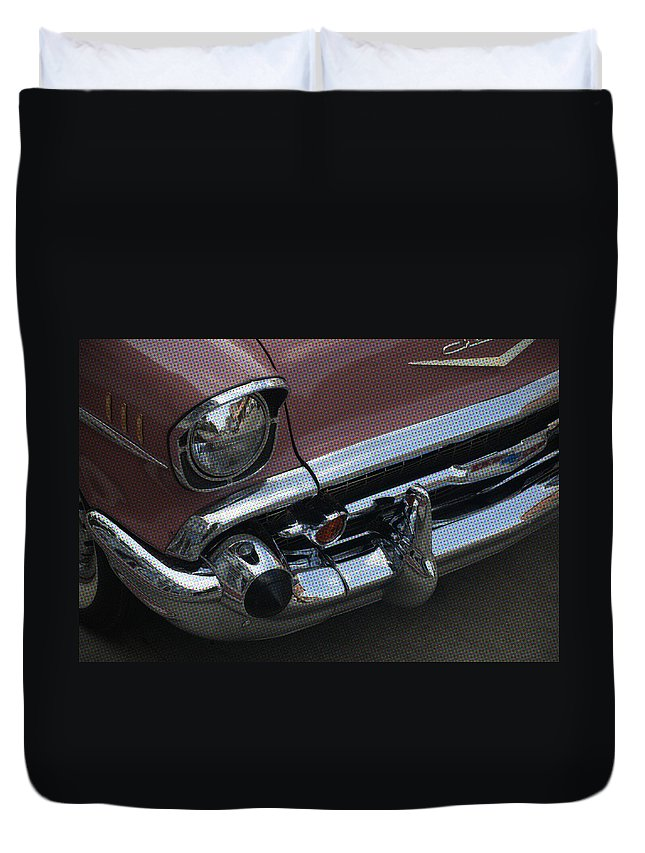 Chevy Duvet Cover featuring the photograph Coral Chevy Halftone by Tim Nyberg