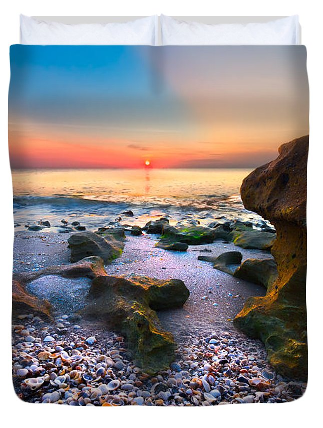 Blowing Rocks Duvet Cover featuring the photograph Coral Dawn by Debra and Dave Vanderlaan