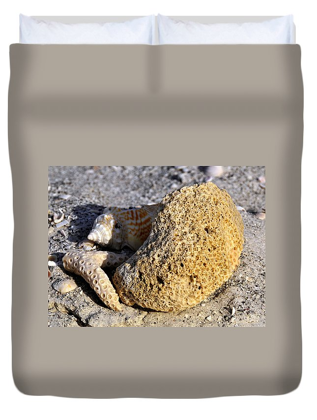 Fine Art Photography Duvet Cover featuring the photograph Coral On Shore by David Lee Thompson