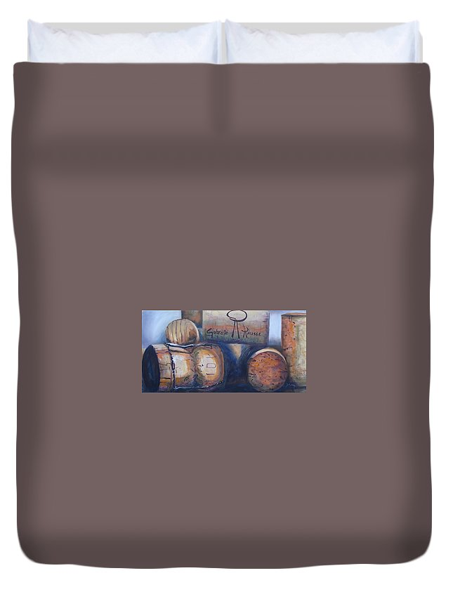 Cork Duvet Cover featuring the painting Corks by Donna Tuten