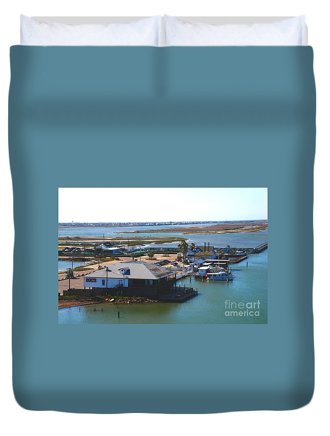 Corpus Christi Duvet Cover featuring the photograph Corpus Christi Bay Towards Mustang Island Texas by Susanne Van Hulst