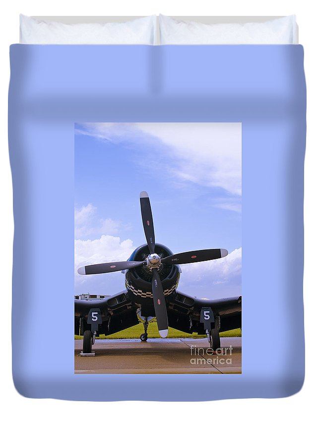 F4u Duvet Cover featuring the photograph Corsair Nose by Tim Mulina