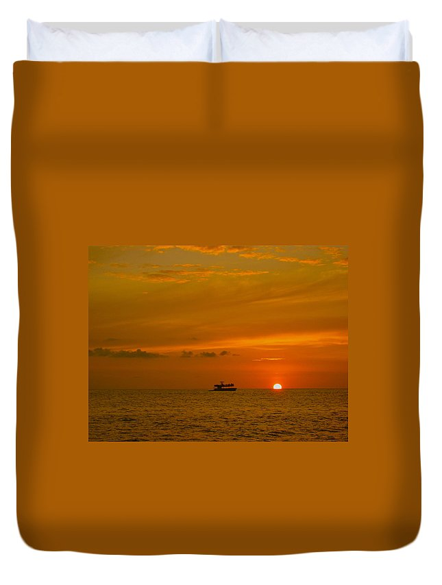 Sunset Duvet Cover featuring the photograph Costa Rica Sunset by Eric Tressler