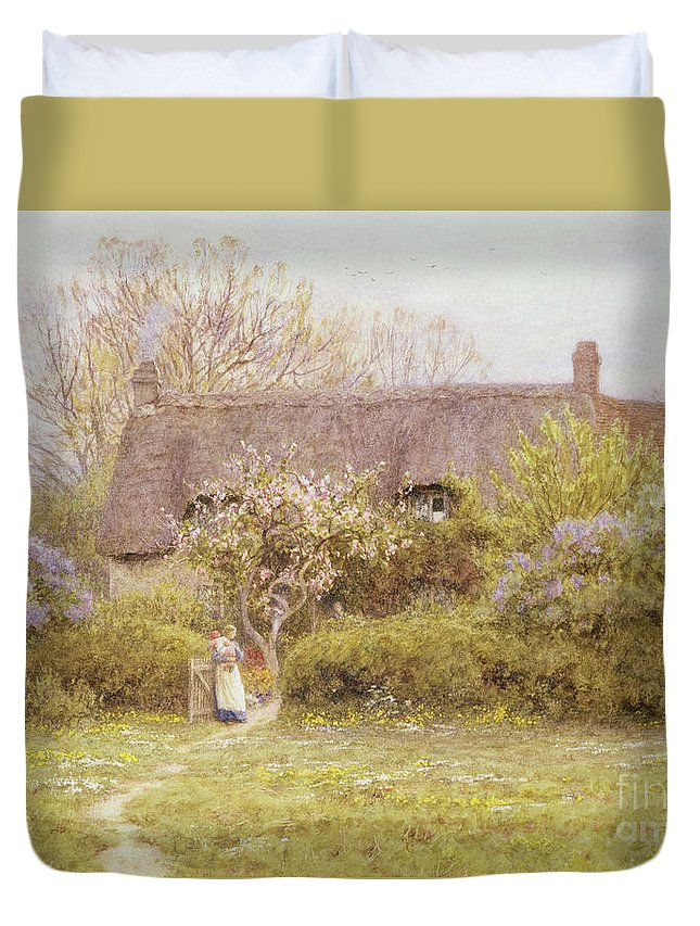 Cottage Duvet Cover featuring the painting Cottage Freshwater Isle Of Wight by Helen Allingham