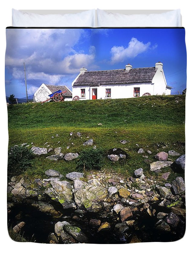 Travel Destination Duvet Cover featuring the photograph Cottage On Achill Island, County Mayo by The Irish Image Collection