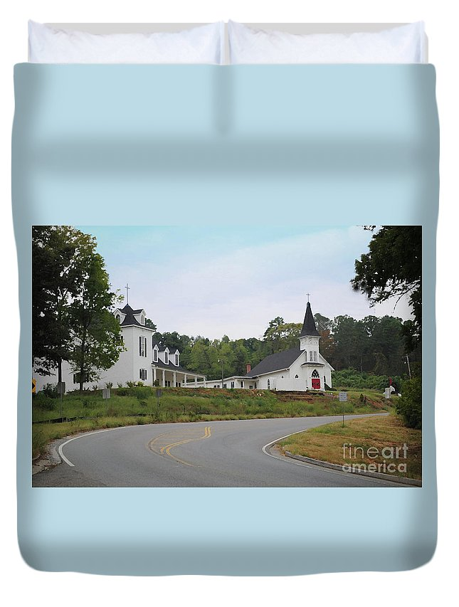 Church Duvet Cover featuring the photograph Country Church In Texture by Jost Houk