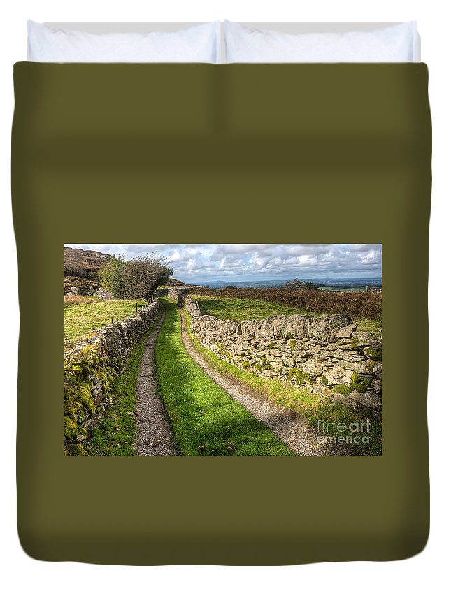 Clouds Duvet Cover featuring the photograph Country Lane by Adrian Evans
