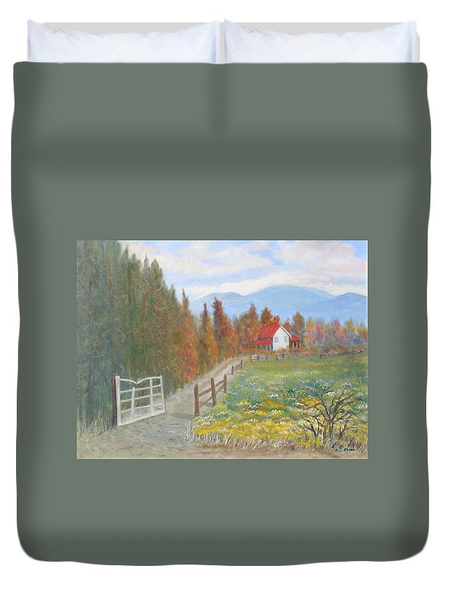 Duvet Cover featuring the painting Country Road by Ben Kiger