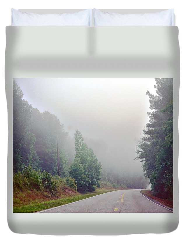 Country Duvet Cover featuring the photograph Country Road Fog by Maria Urso