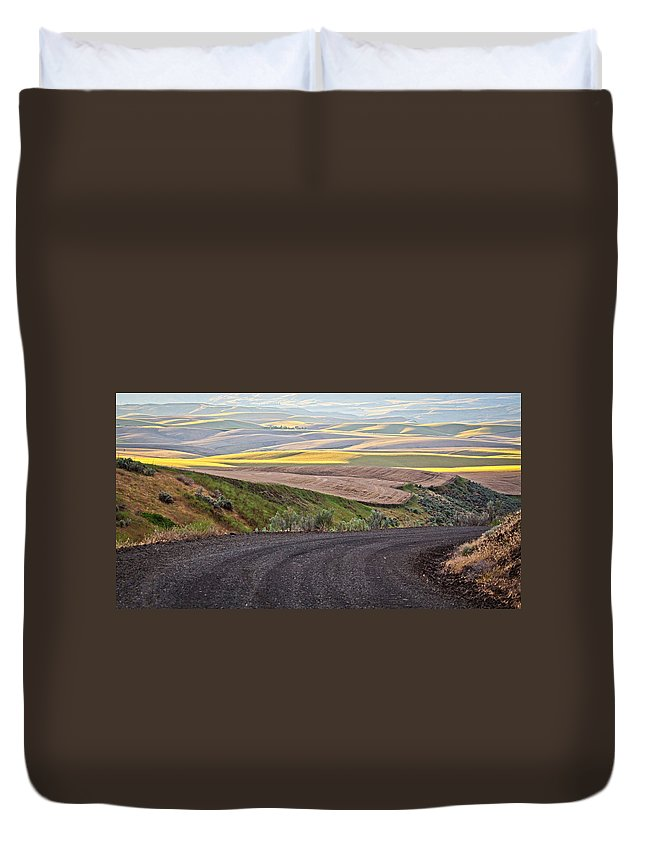 Roads Duvet Cover featuring the photograph Country Road by Steve McKinzie